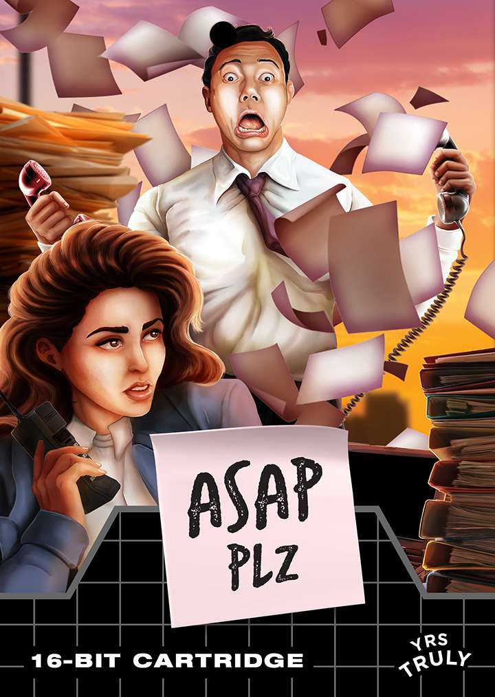 Game box artwork depicting a woman with red hair sitting at a desk, a man standing in the background with a teriffied facial expression while pieces of paper float around an office room.